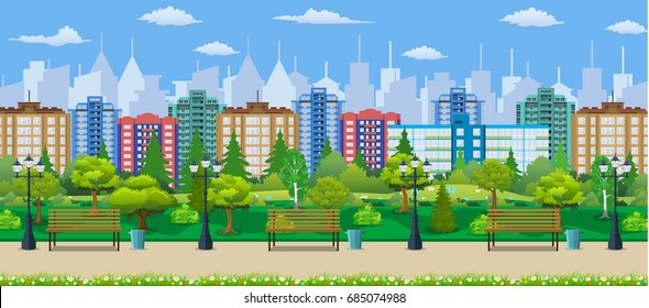 City park concept, wooden bench, street lamp, waste bin in square. Cityscape with buildings and trees. Leisure time in summer city park. Vector illustration in flat style