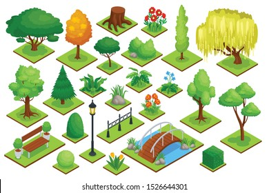 City park element set with plants bridge and trees isometric isolated vector illustration