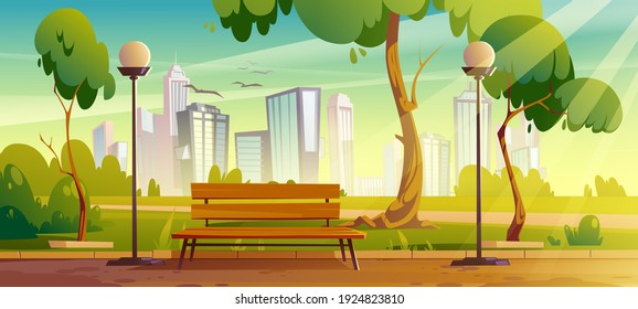 City park with green trees and grass, wooden bench, lanterns and town buildings on skyline. Vector cartoon summer landscape with empty public garden, birds and sun beams