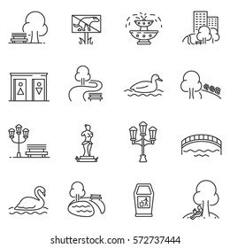 City park icons set. The open plot of land for recreation, thin line design. isolated symbols collection