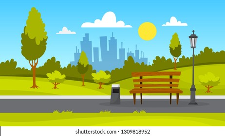 City park landscape. Green grass, bench and trees. Summer scenery with blue sky. Walkway in park. Vector illustration in cartoon style