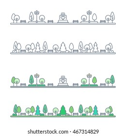 city park landscape. natural landscape with benches, trees and fountain. flat outline style. isolated on white background. vector illustration