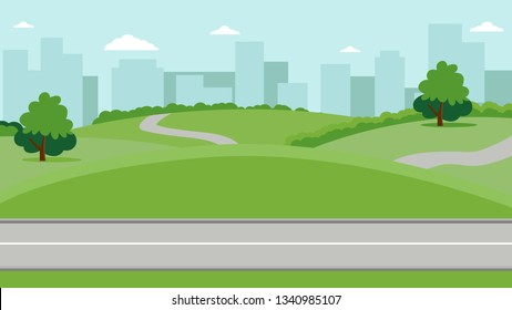 City park with a lawn and trees flat style. Green park with plant environmental and lush grass on a background of town with skyscrapers high buildings. Vector illustration