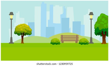City Park, lights, trees, bench. Green horizontal background. Flat vector illustration