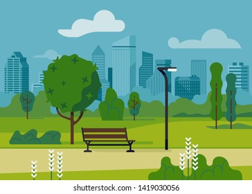 City park with modern bench and light post flat vector illustration