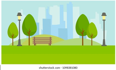 City Park on the background of skyscrapers. Lights, trees, bench. Vector 2D illustration