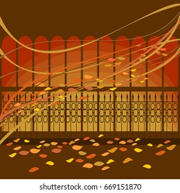City park and pavilion with a fence in the autumn in the deciduous. Vector hand drawing