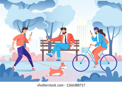 City park with relax people with cellphone, dog on bench, bicycle. Concept young woman and man for walk. Vector illustration.