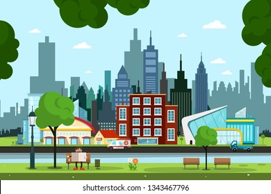 City Park with River, Buildings and Cars on Street. Vector Urban Landscape with Skyscrapers Skyline on Background.