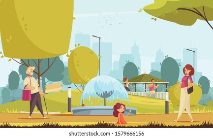 City park summer flat composition with runners little girl with mother near fountain cityscape background vector illustration
