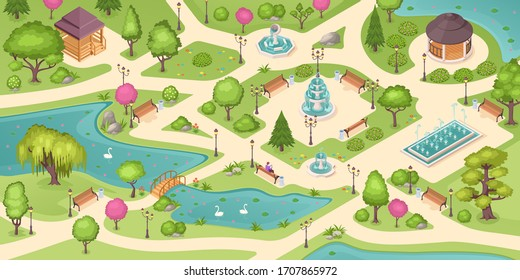 City park summer, isometric vector background with trees, lawns and fountains. Empty urban city park landscape, people sitting on bench, gazebo pavilions, flowerbeds and swans in pond with bridge