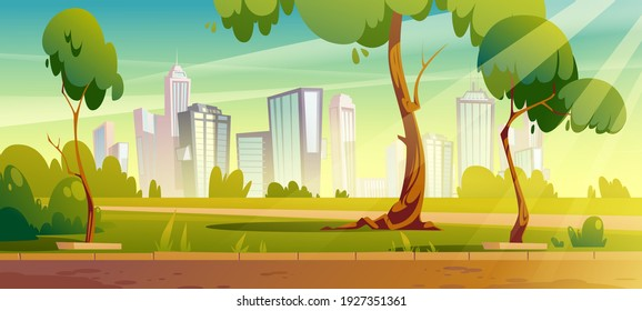 City park, summer or spring time scenery landscape, cityscape background, empty public place for walking and recreation with green trees and lawn. Urban garden with pathway Cartoon vector illustration - Shutterstock ID 1927351361