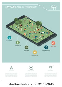 City park, sustainability and technology infographic: people relaxing together and gathering in the park on a digital touch screen tablet