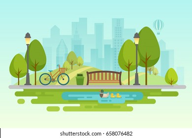 City park Urban outdoor decor, elements parks and alleys. - Shutterstock ID 658076482