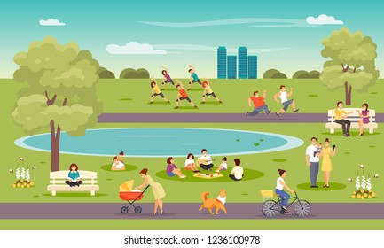 City park. Vacationers people, outdoor fitness, meeting friends, family Vector illustration