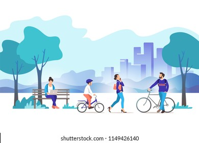 City park. Vector illustration.