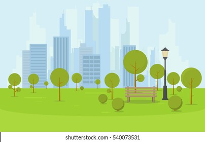 City park wooden bench, lawn and trees. Flat style illustration. On background business city center with skyscrapers and large buildings. Green park vegetation in center of big town