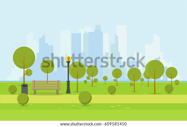 City park wooden bench, lawn and trees, trash can. Flat style illustration. On background business city center with skyscrapers and large buildings, river. Green park vegetation in center of big town.