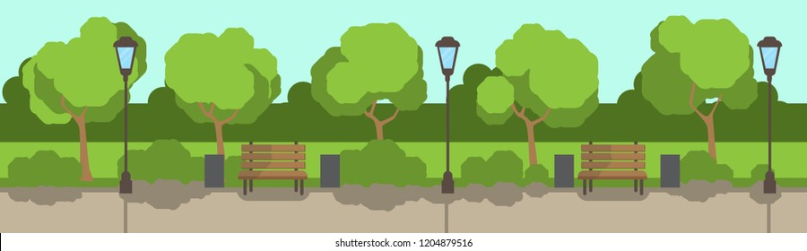 city park wooden bench street lamp green lawn trees template background flat banner vector illustration