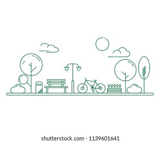 City park and wooden bench. Thin line art style illustration. Green urban public park.