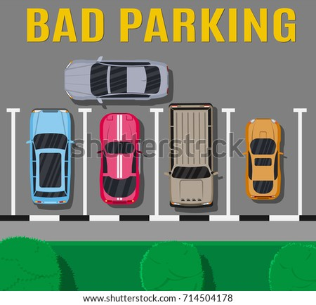 ed8a03f241 City parking lot with different cars. Shortage parking spaces. Parking zone  top view with vehicles. Bad or wrong car parking. Traffic regulations.