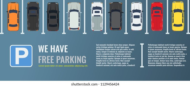 City parking lot with a group of different cars top view. Public car-park. Vector Flat illustration for web or poster banner.