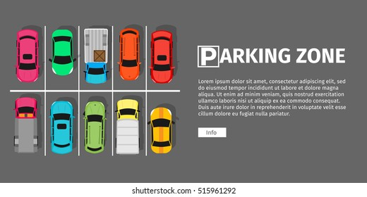 City parking vector web banner. Flat style. Shortage parking spaces. Large number of cars in a crowded parking. Urban infrastructure and car boom. Parking zone
