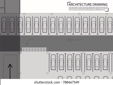 City parking vector web drawing  Urban infrastructure and car boom. Parking zone Top view of a city parking Underground car parking garage Elements of architecture project illustration Detailed plan