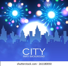 City party with spotlights & fireworks.  Vector illustration