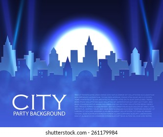 City party with spotlights. Vector illustration