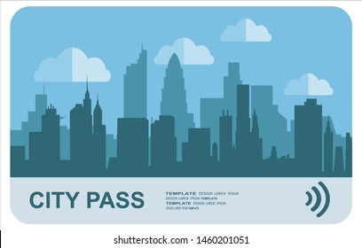 City pass. Bus, train, subway travel ticket with cashless payment system. Card with map of city with roards and houses. Vector illustration in flat style