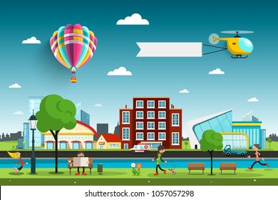 City with People and Hot Air Balloon with Helicopter on Sky. Abstract Vector City Park with Buildings.