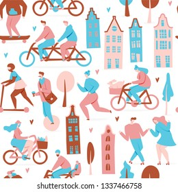 City with people on bicycles, vector seamless pattern