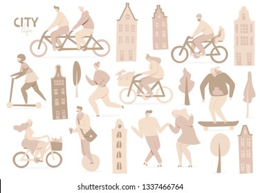 City with people on bicycles, vector design set