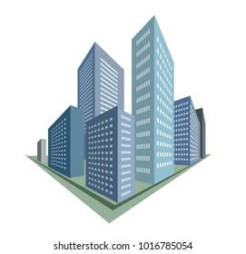 City perspective isometric icon