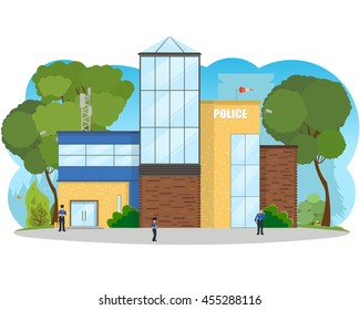 City police station department building in landscape. police officers at work. vector