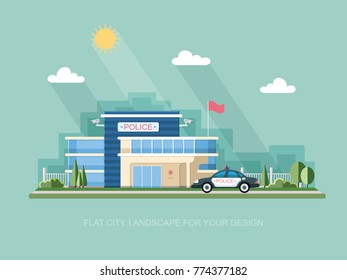 City police station department building in landscape with policeman and car in Graphic flat style isolated on white background. Vector icon for design