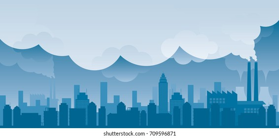 City with Pollution Problem Blue Background, Building and Skyscraper Skyline with Factory
