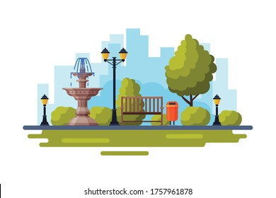 City Public Park with Marble Fountain, Streetlights, Wooden Bench Flat Style Vector Illustration on White Background