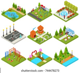City Public Park or Square Objects Set Icons 3d Isometric View with Food Truck, Carousel and Sport Place. Vector illustration of Concept Relaxation