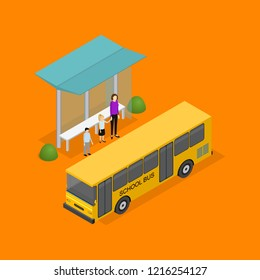 City Public Transport Bus 3d Icon Isometric View on a Yellow Background. Vector illustration of Schoolbus
