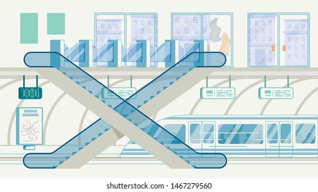 City Public Transport Infrastructure, Metropolis Rapid Transit System Flat Vector. Subway, Railroad Underground Station Entrance with Tourniquets, Escalators and High Speed Train on Rails Illustration