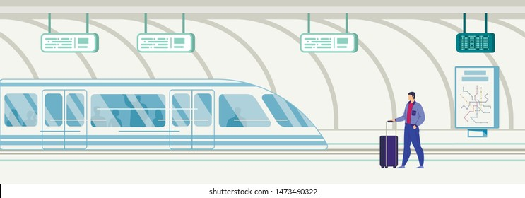 City Public Transport, Metropolis Citizen and Tourists Transportation Infrastructure Flat Vector. Man, Male Passenger with Baggage Bag, Standing, Waiting Train on Subway Station Platform Illustration