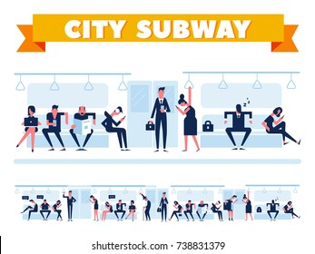 City Public Transport. Passengers in city subway, inside underground train. Flat Vector illustration. Info graphics elements.