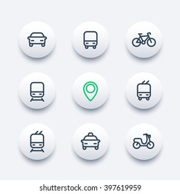 City and public transport round modern icons, public transportation icons, bus, subway, taxi, public transport pictograms, thick line icons set, vector illustration