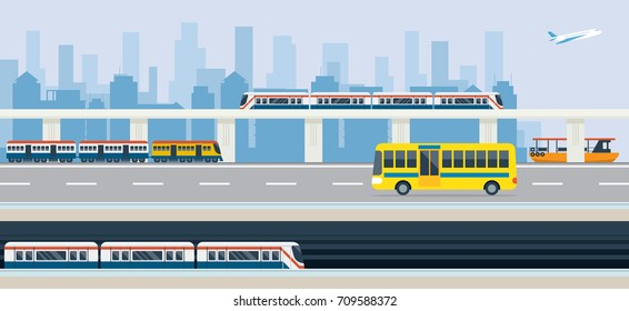 City, Public Transport and Transit, Bus, Train, Skytrain, Metro, Boat and Airplane