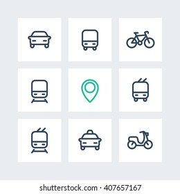 City and public transport, transportation, route, bus, subway, taxi, thick line icons isolated on white, vector illustration