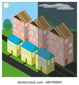 City Quarter in Good Weather and in the Rain. Vector illustration