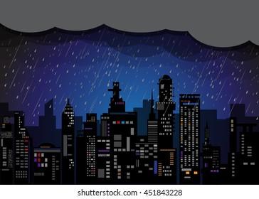 city rain, City at night