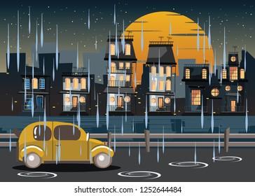 city in rain at night vector illustration